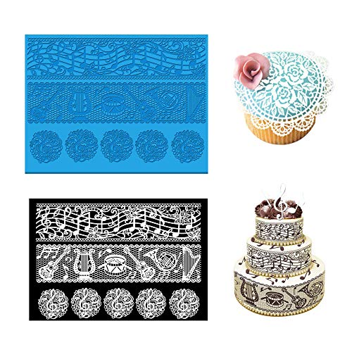 Joinor Music note Gum Paste Molds Silicone Fondant Lace Mat Cake Lace Mold Cake Cupcake Decorating Mold