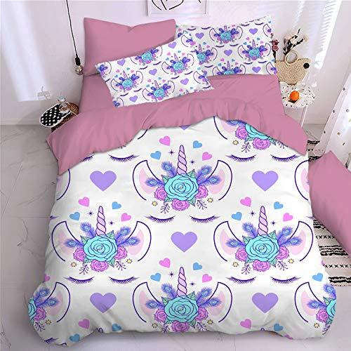 Bate - Funda de edredón para cama individual, diseño de unicornio, impresión 3D, con funda de almohada reversible de rayas y estrellas, 135 x 200 cm