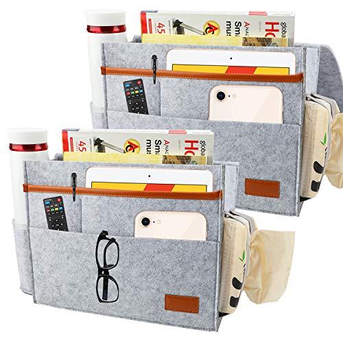 2Stücke Dicker Filz Betttasche, Caddy Storage Organizer, Betttasche zum einhängen Bett Tasche Bettablage zum Einhängen Aufbewahrungstasche mit 5 Tasche für Buch, Handy, Tasse, Ipad und Fernbedienung