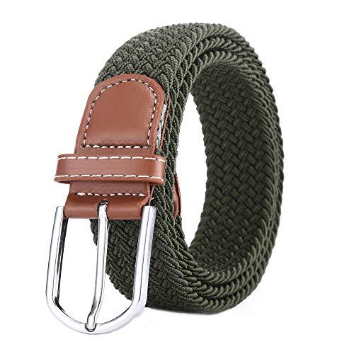 BOZEVON Cinturón elástico tejido - Multi-colores Cinturón de tejido elástico trenzado la tela de estiramiento para Hombres Mujeres Verde