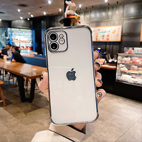 Estuche Cuadrado Original de Lujo Bling Plating para iPhone 12 11 Pro MAX 12 Mini Clear TPU Airbag Cover para iPhone XR X XS 7 8 Plus para iPhone 7 Silver