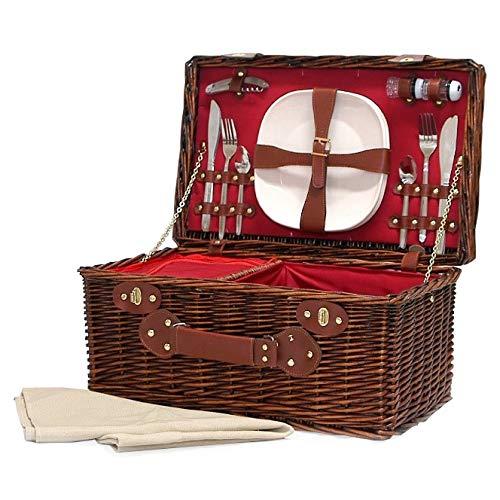 Redgrave Picknickmand – luxe donker rieten mand voor picknick met 4 personen, met geïntegreerd koelvak en accessoires, cadeau-idee voor Valentijnsdag, verjaardag, heren, vader, jou, hem, moeder