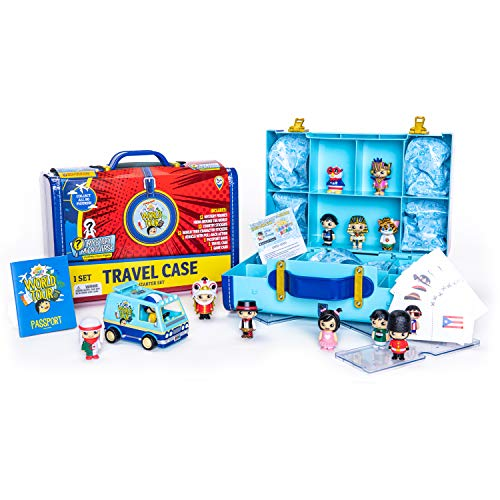 Ryan's World Tour Suitcase, 12 Country Themed Mystery Micro Figures With Matching Stickers, Exclusive Vehicle, Educational Passport Book, Display Stands To Show Off Collection, Storage Suitcase