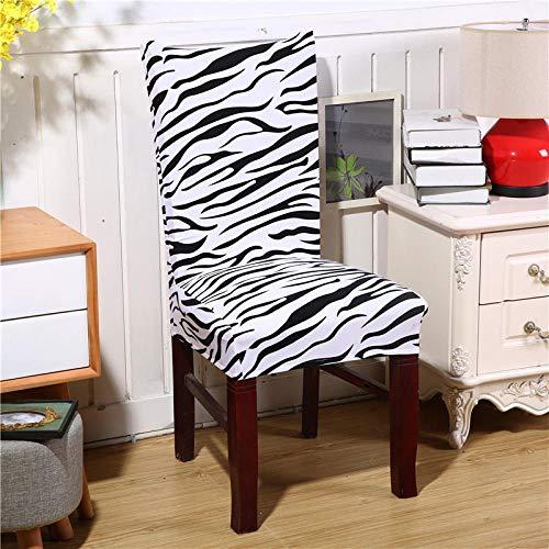Fundas para sillas 4 piezas ImpresoPatrón de cebra blanco y negroFunda de Silla Elástica Fundas elásticas Extraíbles y Lavables Comedor Cubierta de Asiento Duradera Modern Boda Decor Restaurante
