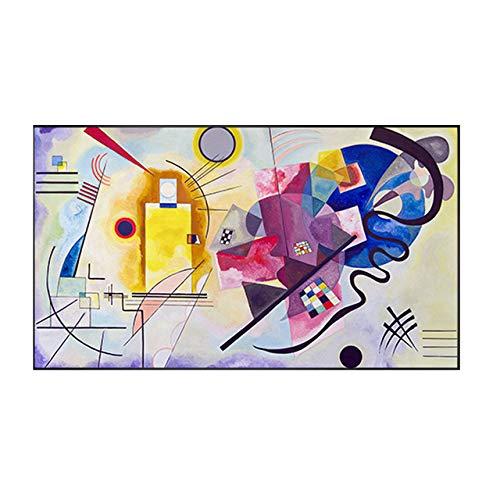 XUML Abstract Canvas Schilderij Grote Posters Muurkunst Foto's Mondriaan Rood Geel Blauw Decoratieve Posters en Prenten voor Woonkamer 130x75cm(No frame) A