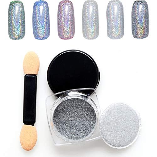Glitter Nail Art Powder - Buntes glänzendes Nail Glitter Powder Bling Design Nagellack Maniküre Nail Art Chrompigment DIY Nail Art Dekoration - Silber