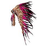 Pink Pineapple Tocado Hecho a Mano Inspirado en los Nativos Americanos: Equipo de Plumas Genuino de Niños y Adultos para Festivales - Medio - Rosa y Negro