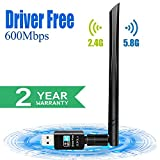 SUPOLA WiFi Antena USB WiFi Adaptador AC600Mbps Driver Free-Auto WiFi Dongle 5dBi Dual Band 2.4GHz/5GHz Mini Receptor para PC/Desktop/Laptop,Soporte Windows10/8/8.1/7,MacOS X 10.6-10.14