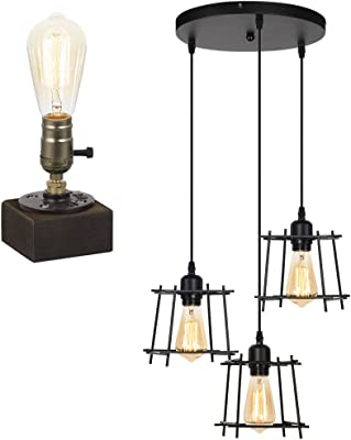 HAITRAL Retro Hanging Light Fixtures with Steampunk Lamp E26 Base for Kitchen Island Living Dining Room Bedroom