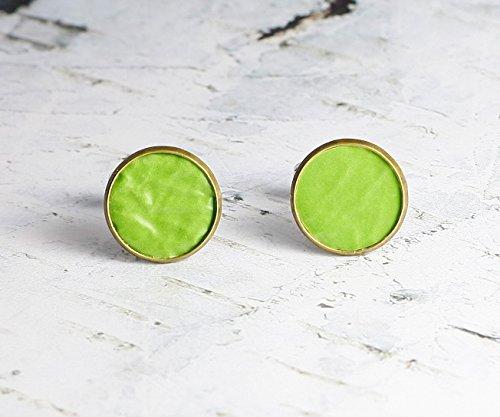 Manschettenknöpfe mit Leder in Grün