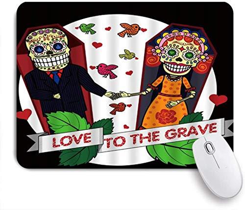 Benutzerdefiniertes Büro Mauspad,Tag der toten Skelett Braut und Bräutigam Liebe zum Grab Blätter Vögel,Anti-slip Rubber Base Gaming Mouse Pad Mat
