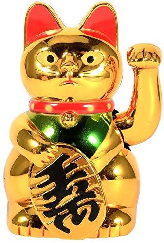 Gato de La Buena Suerte, Hecha de Plástico ABS, Su Mano Agita, Oro: Símbolo de Nobleza Y Riqueza, Decoración Y Regalo.