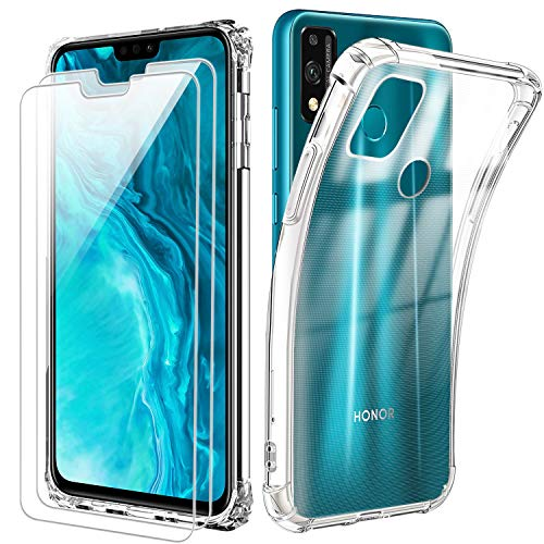 Reshias Coque pour Huawei Honor 9X Lite, Souple Transparent TPU Silicone Anti-Chute Housse Étui avec Deux Verre Trempé Film Protection Écran pour Huawei Honor 9X Lite (6,5 Pouces)