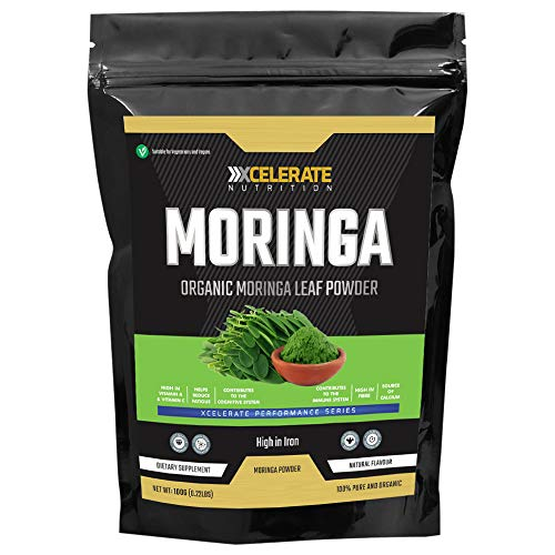 XCelerate Nutrition Organic Moringa Powder 100g - Certified Organic, Premium Quality | Rich in Dietary Fibre, Plant Protein, Minerals & Anti-oxidants | Vegan | Superfood