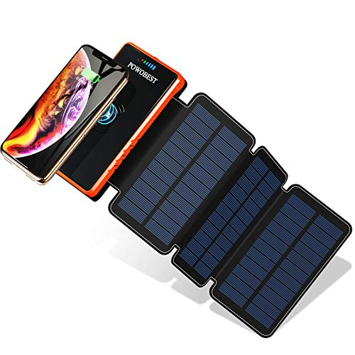 POWOBEST Solar Power Bank,Wireless Solar Charger 20000mAh, High-Speed Charging,Portable External Battery,Solar Panels with Led Flashlight,IPX5,Dual 5V/2.1A USB Ports,for Smartphones, Tables etc
