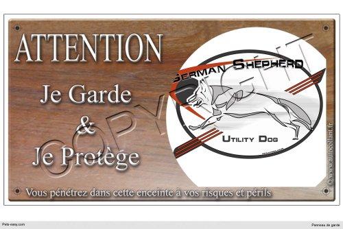 Panneau chien ou plaque German-Shepherd-Logo 20 cm