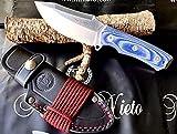 NIETO - 144-B. Cuchillo de Supervivencia Nieto PANZER. Acero BOHLER. Mango de Mikarta azul. Hoja 9,5 cm. Funda de cuero . Herramienta para Caza, Pesca, Camping, Outdoor, Supervivencia y Bushcraft