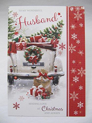 Sconosciuto Grande lovely Colourful to my wonderful husband cartolina di Natale