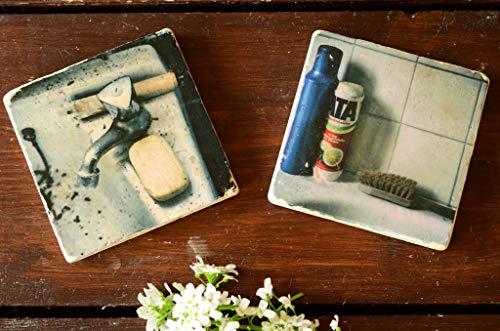 Badezimmer retro Untersetzer aus Travertin Stein Fliese, handmade coaster