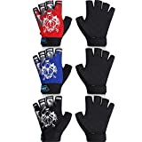 3 Pairs Kids Sport Gloves Breathable Children Cycling Gloves Half Finger Kids Bicycle Gloves Non-Slip Children Fishing Gloves for Boys and Girls Fishing Cycling Climbing Camping Outdoor Sports