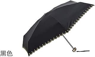 AUWANGAOFEI Japanese Star Embroidery Lace Mini Half of FIG Sun Umbrella Pocket Umbrella (Color : Black)