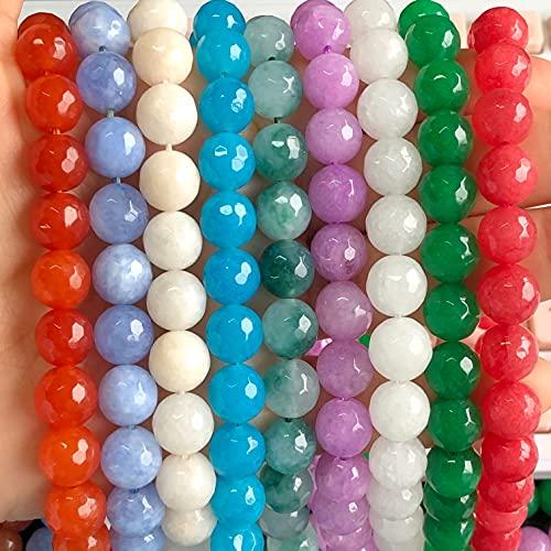 JIUXIAO Cuentas Sueltas Redondas de Piedra de Jades Blanco de calcedonia Verde Oscuro facetada Natural para Hacer Joyas 4/6/8/10 Mm Collares de Pulsera DIY