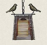 Raelf Araña de madera hecha a mano Idyllic sola araña restaurante pájaro pequeño araña rústico hierro jaula isla araña salón comedor isla colgante accesorios E27