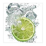 Apalis Vliestapete Küchentapete Lime Bubbles Fototapete Quadrat | Vlies Tapete Wandtapete Wandbild Foto 3D Fototapete für Schlafzimmer Wohnzimmer Küche | Größe: 240x240 cm, grün, 97802
