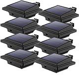 LED Solar Dachrinnenleuchte, KEENZO Solarlampen für Außen, 25LEDs Solarlicht, Auto ON/OFF, Schwarz, Warmes Weiß Licht (8er set)