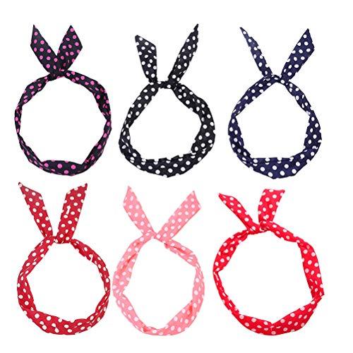 Lurrose 6 stuks konijnenboog hoofdbanden geknoopt polka dot haarbanden turban hoofd wikkelen accessoires yoga sport douchekop voor vrouwen meisjes