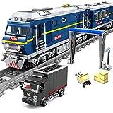 Myste Ferrocarril técnico con luz, 1192 + piezas City para flocomotora de mercancías, modelo con raíles, bloques de sujeción compatibles con Lego Technic – dinámico