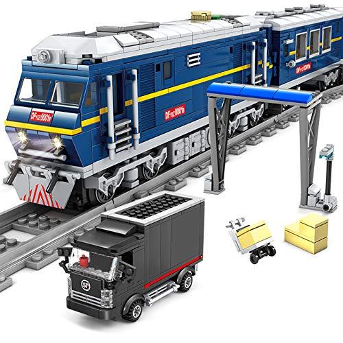 YOU339 Tren de ingeniería ferroviaria juguete con locomotora diésel, 1192 + pieza MOC, ladrillo con luz, juguete educativo para Lego