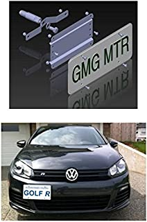 NO Holes License Plate Bracket Kit for The VW MKVI Models (MK6 2010-14 GTI, Golf R & 2010 Jetta SW) No Drill Tow Hook License Plate Mount