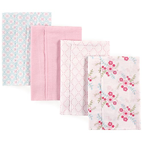 Luvable Friends Unisex Baby Cotton Flannel Burp Cloths, Floral, One Size