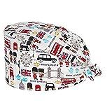 6pcs Sombrero de trabajo estampado con banda para el sudorgorro de turbantegorro de lazo ajustablegorro en forma de calabaza Cubierta de cabello unisex para salón de belleza Tienda de mascotas,Blanc