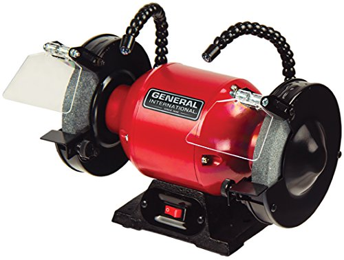 "GENERAL INTERNATIONAL 6"" Bench Grinder - 1/3 HP Benchtop Grinding Machine with 3400 Max RPM & Twin LED Worklights - BG6001"