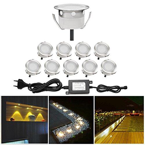 10x Spots LED Eclairage,Encastrable Extérieur IP67 Acier inoxydable - Spots à Encastrer pour Terrasse Bois Plafond 0,6W DC12V lumière Blanc Chaud Spot LED Lampe Extérieur
