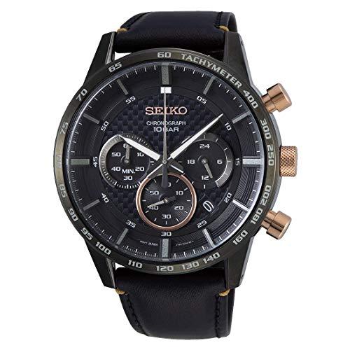 Seiko heren chronograaf kwarts horloge met lederen armband SSB361P1