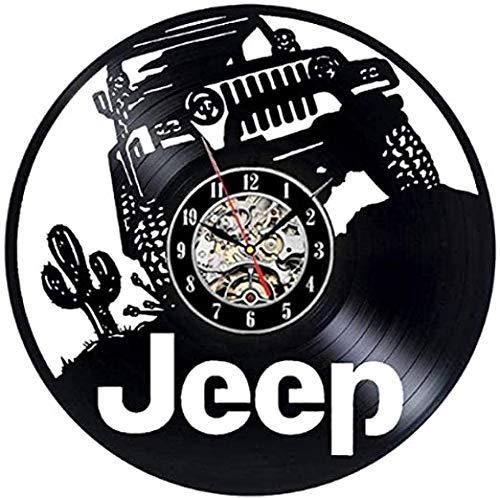 Reloj de pared con disco de vinilo para coche Jeep – Decoración original – Gran regalo para Navidad cumpleaños hombres amantes de los coches