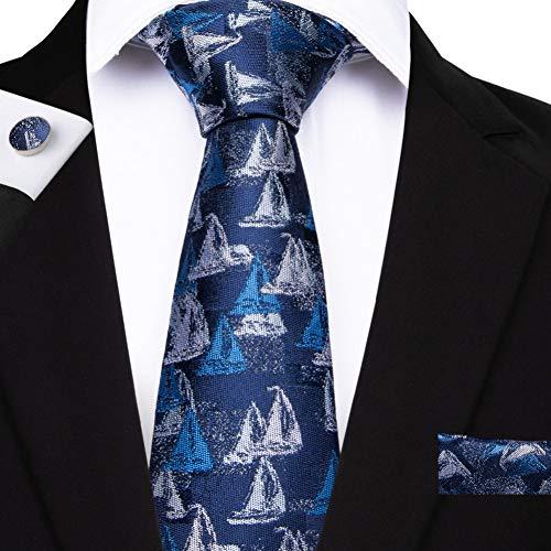 ABDYTE Bleu Cravate Ensemble 8 Cm Motif Voilier Cravate Poche Carré Cravate en Soie Mouchoir Boutons De Manchette