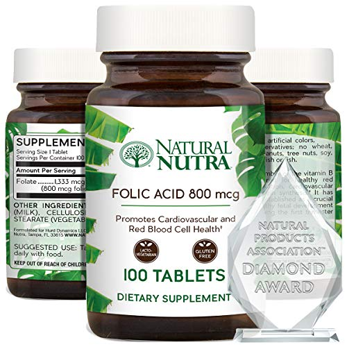 Natural Nutra Premium Folic Acid Folate Vitamin B9 Supplement, Prenatal Vitamin for Heart and Cardiovascular Health, Red Blood Cell Formation, Vegetarian and Gluten Free Supplements, 800 mcg, 100 Tablets