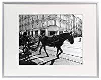 Golden State Art, Metal Wall Photo Frame Collection, 12x16 Aluminum Silver Photo Frame with Ivory Color Mat for 8.5x11 Picture & Real Glass [並行輸入品]