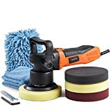 VonHaus 6' Dual Action Polisher Machine Kit, Random Orbital Buffer with 6 Variable Speeds for Cars, Boats, Tiles - Includes 4 Polishing Pads, Wash Mitt, Microfiber Cloth and Carrying Bag