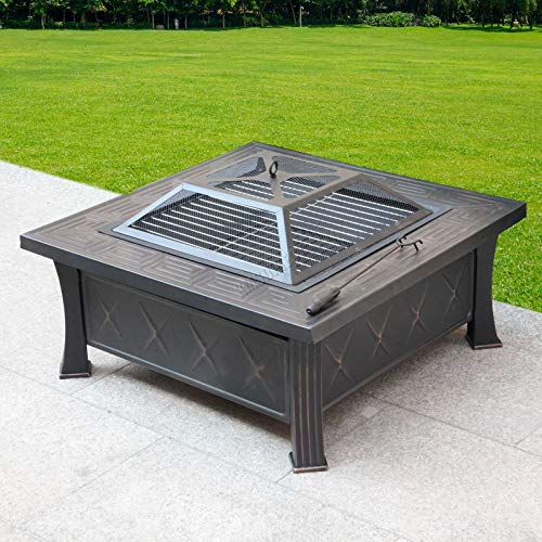 HEATSURE Outdoor 3 In 1 Multifunctional Metal Fire Pit Garden BBQ Firepit Brazier Square Table Stove Patio Heater HS-FP-09 Black