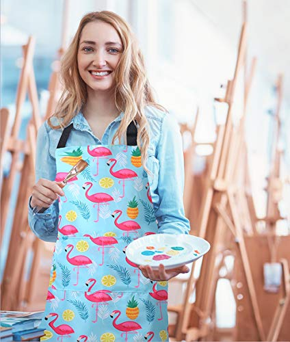 MissOwl Adjustable Bib Apron Extra Long Ties with Pockets Kitchen Cooking Baking Gardening Painting Apron for Women Men Flamingo