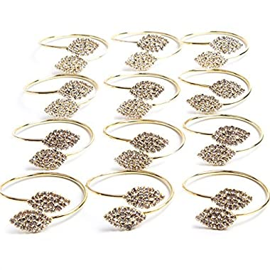 Exquisite Household Napkin Rings for Home Wedding or Holiday Parties (Gold) Set of 12