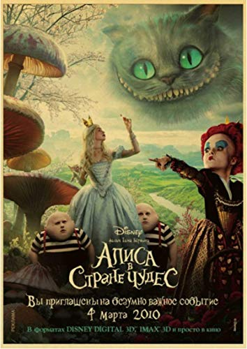 HUYUEXIN Canvas Poster Alice In Wonderland Movie Retro Art Poster Print Cheshire Cat Wall Pictures For Children's Room Decor Wall Sticker 50 * 70Cm Frame