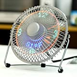 LICHAMP Clock Fan with Floating Led Time Display, Desk Usb Led Fan with Clock Light, 7'