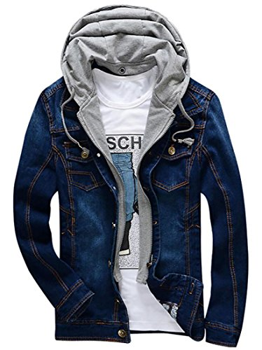 XQS Men Distressed Warm Jeans Jackets with Removable Hood 1 XS