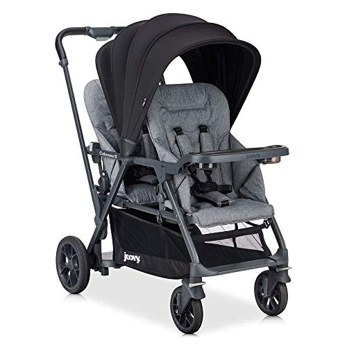 Joovy Caboose S Too Double Stroller, Stand on Tandem, Premium Sit and Stand, Grey Melange